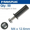 RAWLNUT+SCREW M4X12.6MM X50-BOX