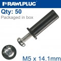 RAWLNUT+SCREW M5X14.1MM X50-BOX