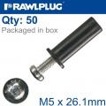 RAWLNUT+SCREW M5X26.1MM X50-BOX