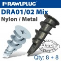 SELF DRILL DRYWALL FIXINGS MIXED BAG 8:8 X6 NYL X6 METAL