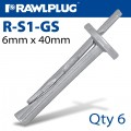 CEILING WEDGE ANCHOR 6X40MM 6 -BAG