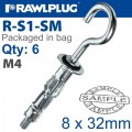 INTERSET CAVITY FIXING M4X32MM X6-BAG HOOK