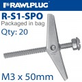 SPRING TOGGLE+SCREW M3X50MM X20-BAG