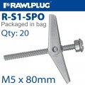 SPRING TOGGLE+SCREW M5X80MM X20-BAG
