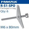 SPRING TOGGLE+SCREW M6X80MM X6-BAG