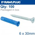 UNIVERSAL PLUG 4ALL 6 X 30MM WITH SCREW 100 PSC PER TUB