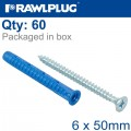 UNIVERSAL PLUG 4ALL 6 X 50MM WITH SCREW 60 PSC PER TUB