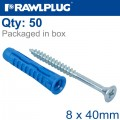 UNIVERSAL PLUG 4ALL 8 X 40MM WITH SCREW 50 PSC PER TUB