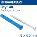 UNIVERSAL PLUG 4ALL 8 X 65MM WITH SCREW 40 PSC PER TUB