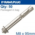 R-SPL SAFETY PLUS - PROJECTING BOLT M8X95MM X50 PER BOX