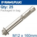 R-SPL SAFETY PLUS - PROJECTING BOLT M12X160MM X25 PER BOX
