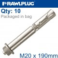 R-SPL SAFETY PLUS - PROJECTING BOLT M20X190MM X10 PER BOX