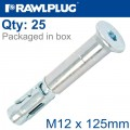 R-SPL SAFETY PLUS - COUNTERSUNK M12X125MM X25 PER BOX