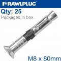 R-SPL II SAFETY PLUS - COUNTERSUNK M8X80MM X25 PER BOX