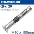 R-SPL II SAFETY PLUS - COUNTERSUNK M10X100MM X20 PER BOX