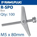 SPRING TOGGLE+SCREWS M5X80 X100-BOX