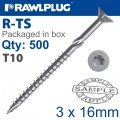 TORX T10 CHIPBOARD SCREW 3.0X16MM X500-BOX