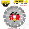 DIAMOND BLADE 350MM X 25.4/20 SEGMENTED IND REINF. CONCRETE LONG LIFE