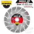 DIAMOND BLADE 450MM X 25.4 SEGMENTED IND REINF. CONCRETE LONG LIFE SHO