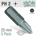 PHIL.NO.2X25MM CLASSIC INS.BIT 5 PACK