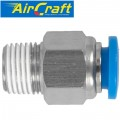PU HOSE FITTING STRAIGHT STUD 6MM-1/8 M