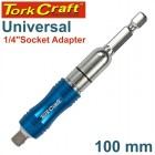 "UNIVERSAL 1/4"" SOCKET ADAPTER 100MM CARDED"
