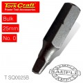 SQUARE RECESS BIT #0 - 25MM - BULK