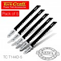 T-SHANK JIGSAW BLADE FAST CUT FOR WOOD 4MM 6TPI 5PC