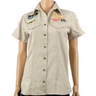 VERMONT LADIES  3/4 COTTON SHIRT STONE MEDIUM