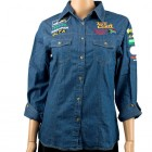 VERMONT LADIES LONG SLEEVED DENIM SHIRT SMALL
