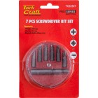 SCREWDRIVER BIT SET 7PCS(PH1/2.PZ1/2 SLOTTED6/7MM)