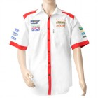 VERMONT MENS - WHITE/RED COTTON SHIRT - SMALL