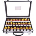 ROUTER BIT SET 35PC ALUM.CASE GLASS 1/4""