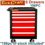TORK CRAFT 6 DRAWER ROLLER CABINET ON CASTORS WITH 196PC OF STOCK