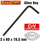 ALLEN KEY CRV BLACK FINISHED 3.0 X 60 X 19.5MM