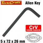ALLEN KEY CRV BLACK FINISHED 5.0 X 72 X 26MM