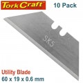UTILITY BLADE SOLID 60MM X 19MM X 0.6MM 10PC SK5