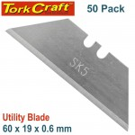 UTILITY BLADE SOLID 60MM X 19MM X 0.6MM 50PC SK5