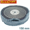 """COLOUR BUFF/MOP 150MM X 2 SECTION X 30MM THICK 1/2"""" HOLE"""