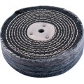 """COLOUR BUFF/MOP 150MM X 3 SECTION X 30MM THICK 1/2"""" HOLE"""