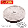"""WHITE BUFF/MOP 200MM X 3 SECTION X 30 MM THICK 1/2"""" HOLE"""