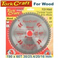 BLADE TCT 190 X 60T 30/20 GENERAL PURPOSE CROSS CUT