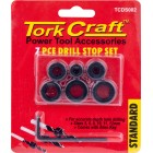 TORK CRAFT 7PC DRILL STOP SET (5.6.8.10.11.12MM) C/W ALLEN KEY