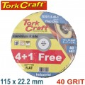 FLAP SANDING DISC 115MM 40GRIT 4+1 FREE