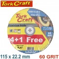 FLAP SANDING DISC 115MM 60GRIT 4+1 FREE