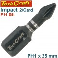 IMPACT PHIL.1 X 25MM INS.BIT 2/CARD