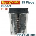 IMPACT PHIL.2 X 25MM INSERT BIT 15PC TIC TAC CASE