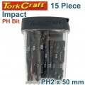 IMPACT PHIL.2 X 50MM POWER BIT 15PC TIC TAC CASE