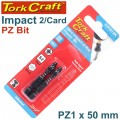 IMPACT POZI.1 X 50MM POWER BIT 2/CARD