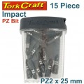 IMPACT POZI.2 X 25MM INSERT BIT 15PC TIC TAC CASE